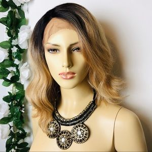 Ombré Black & BLONDE Synthetic Medium Lace Wig